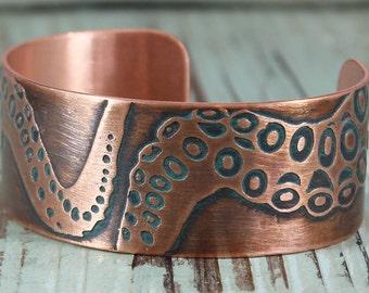 Octopus Tentacle, Handmade Copper Cuff Bracelet