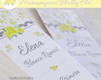"""Marcapáginas imprimible """"Shabby Chic"""" Amarillo y Gris"""