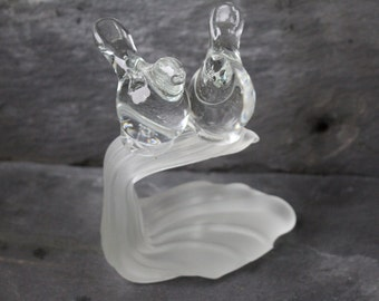 Glass Lovebirds on Branch/ Love Birds Cake Topper/ Crystal Clear Lovebirds