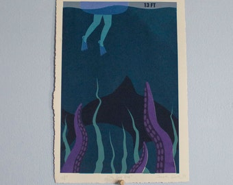 """Small Aquatic Poster- 30x11 """"The Deep End"""" Limited Edition Screen Printed Fine Art Poster"""