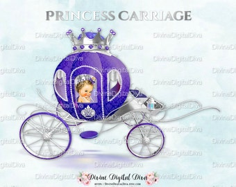 Princess Carriage Coach Purple & Silver | Caucasian Baby Girl | Clipart Instant Download