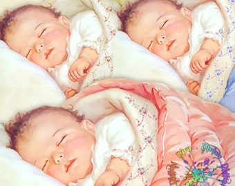 Sleeping Baby | Vintage Boy Girl & Gender Neutral | Pink Blue Ivory | Clipart  Instant Download