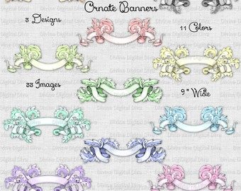 33 Ornate Scrolly Banners | Pastel Colors | Embellishments | Ribbons | Clipart Digital Instant Download
