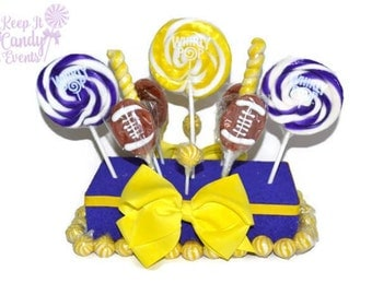 Football Centerpiece, Football Candy Centerpiece, Football Lollipop Centerpiece, Team Party Centerpiece, Tailgating Candy Decoration