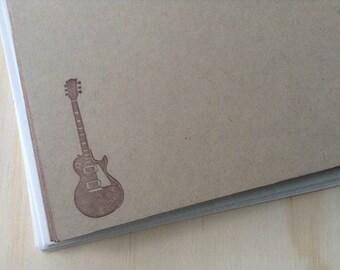vintage inspired flat note cards and envelopes, stationery set, retro guitar, set of 10