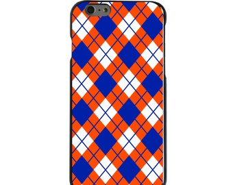 Hard Snap-On Case for Apple 5 5S SE 6 6S 7 Plus - CUSTOM Monogram - Any Colors - Florida UF Gators Colors - Argyle Pattern