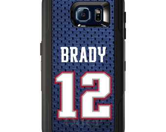 Custom OtterBox Defender for Galaxy S5 S6 S7 S8 S8+ Note 5 8 Any Color / Font - Brady 12 Jersey