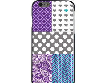 Hard Snap-On Case for Apple 5 5S SE 6 6S 7 Plus - CUSTOM Monogram - Any Colors - Purple Teal Grey Patterns