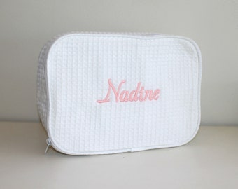Personalized Cosmetic Bag Monogrammed Bridal Gift Custom Embroidery Wedding Party Gift