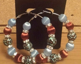 Basketball wives /Poparazzi inspired blue and brown animal leopard print hoop