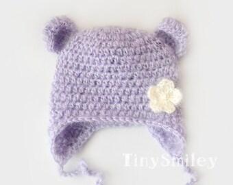 Lavender Bear Hat, Mohair Newborn Hat, Mohair Bear Hat, Earflap Bear Hat, Baby Girl Bear Hat, Baby Hat with Ears, Earflap Mohair Hat, Bears