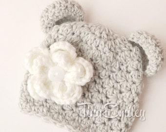 Bear Baby Hat, Newborn Bear Hat, Baby Girl Bear Hat, Gray Bear Hat, Photo Prop, Newborn Baby Hat, Hospital Baby Hat, Animal Baby Hats