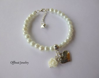 Flower Girl Bracelet, Flower Girl Charm Bracelet, Pearl Flower Girl Bracelet, Pearl Flower Girl Bracelet, Childrens Jewelry,