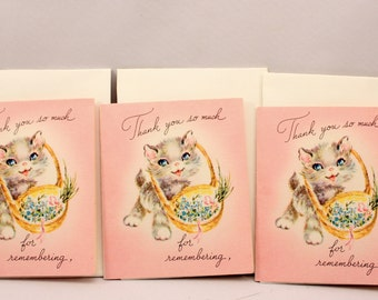 3 Small Vintage Kitten Thank You Greeting Cards Unsigned w Envelopes 1940s