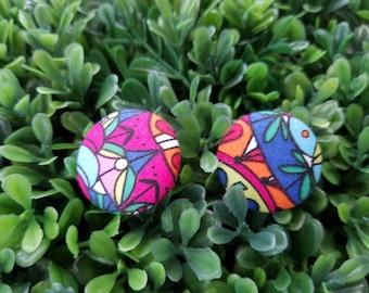 Get Funky- Handmade Fabric Button Earrings