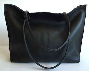 Classic Large Black Leather Tote