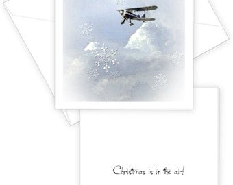 Biplane Christmas Card, Sky. Moon, Snowflakes, Christmas Is In The Air