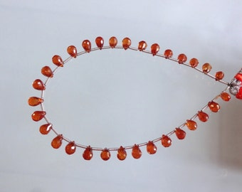 8-inch AAA quality Natural Spessartite Garnet faceted teardrop size 6-7mm 41cts GW1435