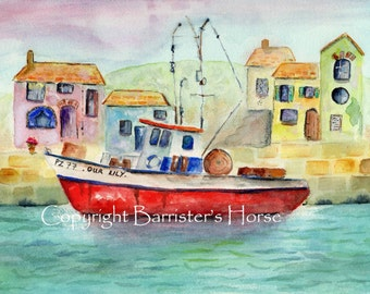 Red Fishing Boat, Giclee Watercolour Painting Print A4. Archival quality inks