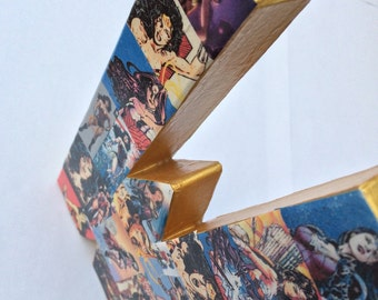 Custom Paper Mache Collage Comic Book Letter 8 1/2 inches tall