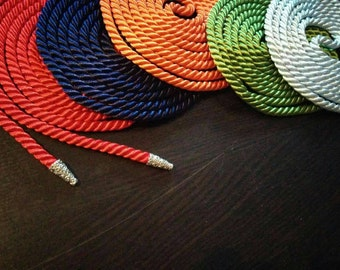 CUSTOM Handfasting Cord - silky twisted cording with metal aglet/endcap