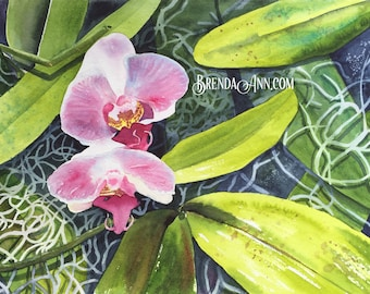 Orchid Tangle - Watercolor Archival Print           by Brenda Ann