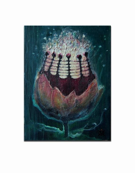 Fine Spirit Art flower Painting acrylic on Canvas Deep Texture Original Modern