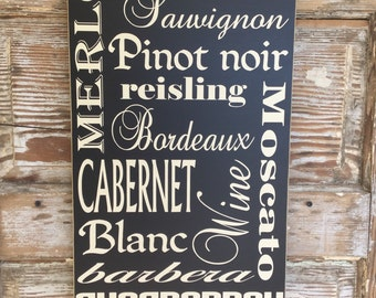 Wine Sign 12 x 24 Variety of Different Wines Wood Sign