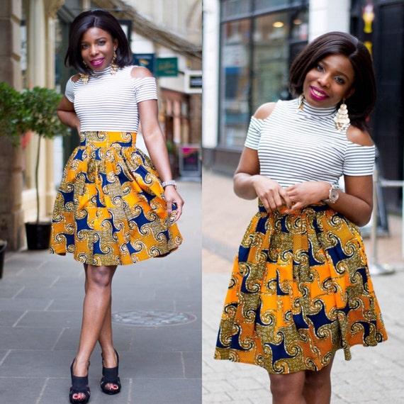 ankara knee lenght skirt high waist skirt by laviye