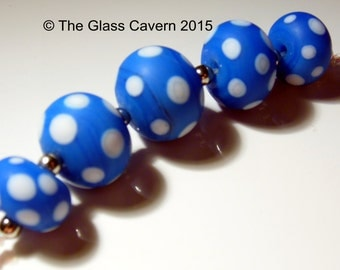 Handmade Electric Blue Spotty Lampwork Beads