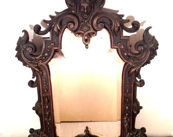 french  antique 19th century solid bronze Vanity Mirror mythology horse man face sun shell Louis XV decor beveled glass ornate frame Paris