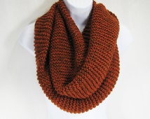 Merino/Alpaca, X-Long Infinity Scarf, Cowl Shawl/Wrap, Persimmon/Copper Shimmer, Luxuriously Soft, Warm, Light Weight-READY TO SHIP