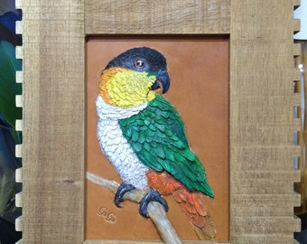 Handmade 3D Black-headed Caique Parrot Leather Sculptures Wall Hanging Frame