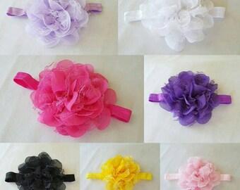 Chiffon and lace flower on foe headband