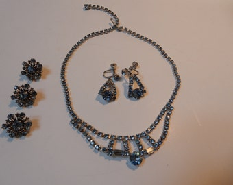 Vintage Rhinestone Necklace, Snowflake Brooches and Earring Set