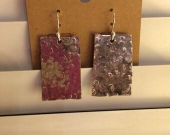 Hand Hammered rectangular earrings