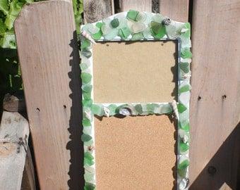 Ocean Tumbled Sea Glass Frame and Cork Board, White, Grean and Sea foam with Sea Shells