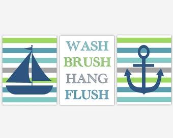 Nautical Bath Wall Art Sailboat Anchor Wash Brush Hang Flush Blue Green Gray Children Bathroom Decor Bath Rules Hang Brush Wash Flush Prints