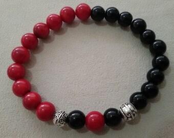 0.8mm Coral Oynx Stone Handmade Stretchable Bracelet OM033