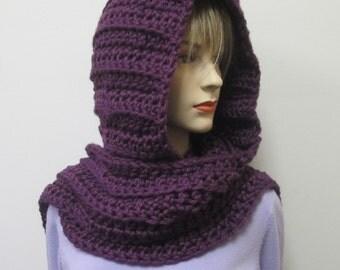 Purple Crochet Hooded Scarf, Hoodie Scarf, Hooded Scarves, Scoodie Scarf, Hat Scarf, Hooded Wrap Scarf, Long Fall Scarf, Elizabeth B3-038