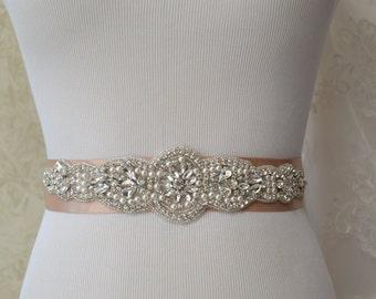 Champagne Bridal Belt, Pearl Crystal Rhinestone Belt, Champagne wedding Sash