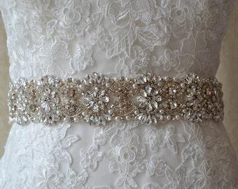Bridal Rhinestone Sash-Wedding Sash-Bridal Sash-Crystals Sash-Wedding Gown Sash