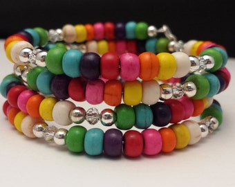 Multi-Color Magnesite & Clear Glass Crystal Beads Memory Wire Bracelet.