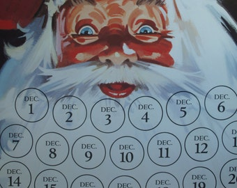 Vintage 7-Up Advertising December Calendar ~ Santa Face Christmas Countdown/Advent Calendar