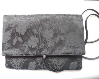 Vintage Travel Jewelry Bag Black Jewelry Bag Jewelry Pouch Jewelry Travel Bag Rose Brocade Jewelry Bag Satin Travel Bag Jewelry Organizer