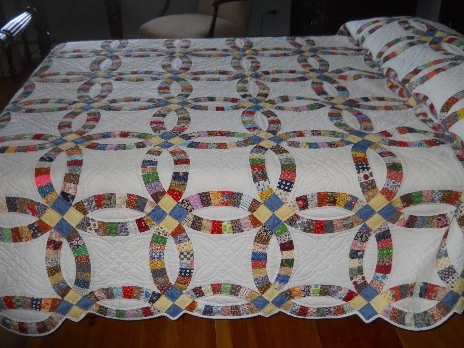 Fabulous Vintage Double Wedding Ring Quilt Never Used 8