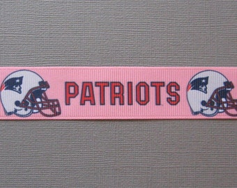 "Sale! NEW ENGLAND PATRIOTS Logos on Pink 1"" Grosgrain Craft Ribbon - 3 Yards"