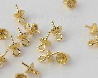 925 Sterling Silver/Golden Vermeil 4 mm Flower Bead Cap With Peg, For Half Drilled Beads, Hypoallergenic,Set of 10/20/40
