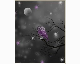 Black White Purple Bedroom Wall Art Picture, Owl, Moon Wall Art, Purple Home Decor Matted Picture