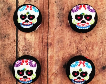 Fabric Covered Button Magnets / Day of the Dead Magnets / Strong Magnets / Refrgierator Magnets / Fridge Magnets